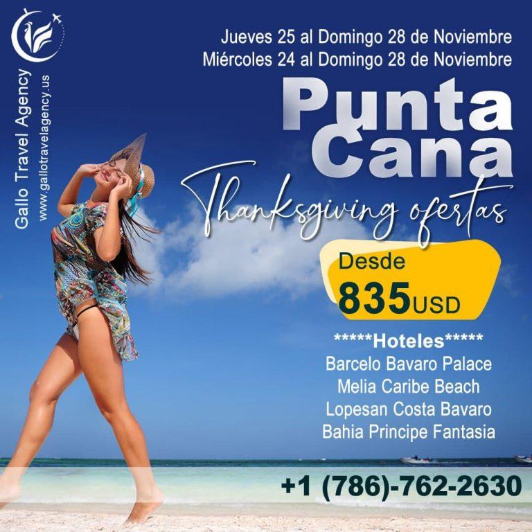 viajes a Punta Cana por Thanksgiving 2021